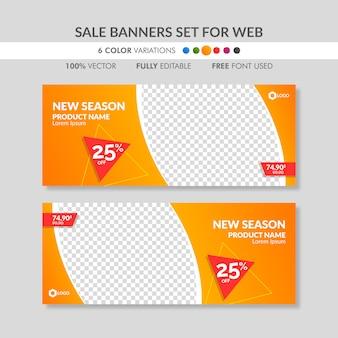 Editierbare orange verkaufsfahnenschablonen für web