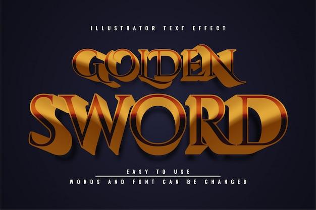 Editierbare texteffektillustrationsschablonenentwurf des goldenen schwertes