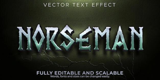 Editierbare wikinger mit norseman-texteffekt und nordischer textstil