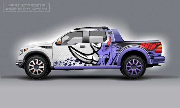 Editierbarer pickup mit abstraktem rhino-aufkleber