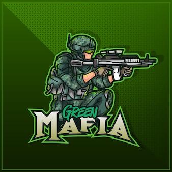 Editierbares und anpassbares sportmaskottchen-logo-design, esports zuckendes logo armee-soldat militär