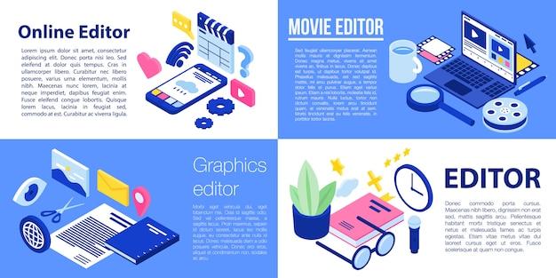 Editor-banner-set, isometrische stil