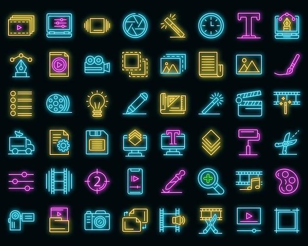 Editor-symbole gesetzt. umrisse von editor-vektorsymbolen neonfarbe auf schwarz