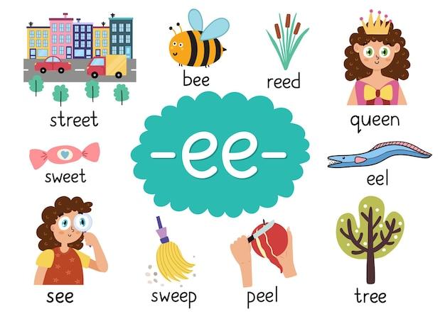 Ee digraph mit pädagogischen wörtern für kinder phonetisches arbeitsblatt zum lernen von phonetik