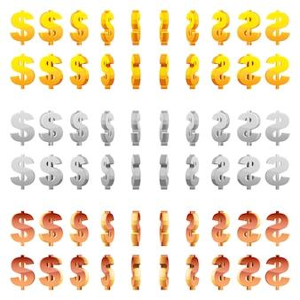 Effekt-3d-animation eines sich drehenden goldenen, silbernen und bronzenen dollarzeichens. rotation des vektoranimationsspiels.