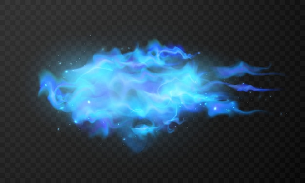 Effekt brennende magische heiße funken realistische feuerblaue flammen