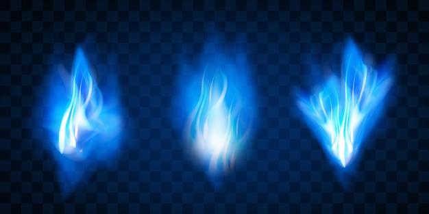 Effekt brennende rote heiße funken realistische feuerblaue flammen