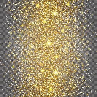 Effekt des fliegens häufig in der mitte des reichen hintergrundes des goldglanzluxusdesigns. hellgrauer hintergrund. sternenstaub löst die explosion auf einem transparenten hintergrund aus. luxus goldene textur