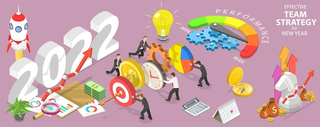 Effektive teamstrategie für das neue jahr 2022 teamwork und brainstorming