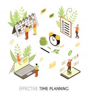 Effektiver isometrischer hintergrund für die zeitplanung mit personen, die geschäftspläne und routineverwaltung erstellen