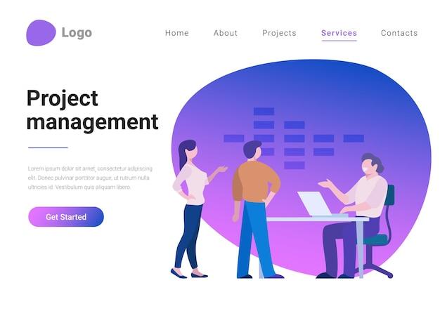 Effektives projektmanagement flat style vector illustration landing page banner