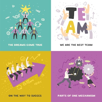 Effektives teamwork-konzept, illustration mit zahnrädern und pfeilüberschrift für den erfolg isoliert
