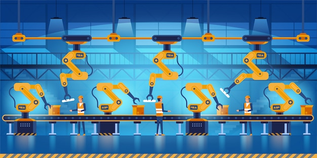 Effiziente intelligente fabrik mit arbeitern, robotern und fließband, industrie 4.0 und technologiekonzeptillustration