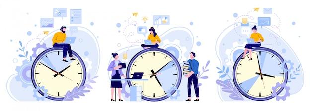 Effizienz arbeitszeit. teamarbeitszeiten für mann, frau und arbeiter. freiberufliche mitarbeiter, produktivitätsuhren und personen, die an laptop-illustrationen arbeiten, setzen. zeitplanplanung, zeitmanagement
