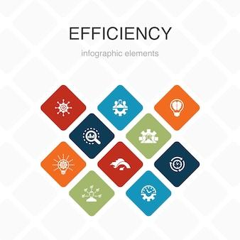 Effizienz infografik 10 option farbdesign. zeitmanagement, geschwindigkeit, multitasking, teamwork einfache symbole2