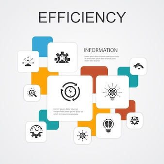 Effizienz-infografik 10-zeilen-icons vorlage. zeitmanagement, geschwindigkeit, multitasking, teamwork einfache symbole
