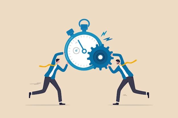 Effizienz oder produktivität, ressourcen und zeit verwalten, um das beste arbeitsergebnis zu optimieren, die leistung mit effektiven prozessen zu steigern, unternehmer kombinieren zeitschaltuhr und zahnrad für beste effizienz.