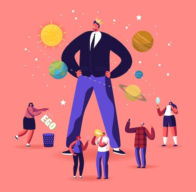 Ego, narzisstisches selbstliebe-verhaltenskonzept. winzige männliche weibliche charaktere um einen riesigen egozentrischen macho-mann mit krone auf dem kopf. symptom einer psychischen störung. cartoon-menschen-vektor-illustration