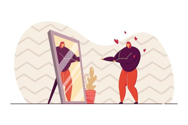 Egoistische frau, die vor spiegel und lächelnder illustration steht