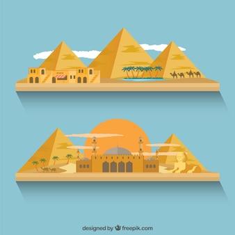 Egyptian Gebäude und Pyramiden