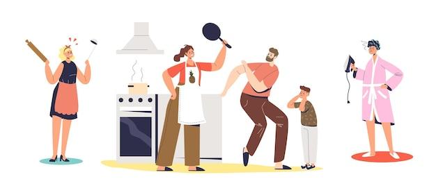 Ehekrise, häusliche belästigung und häusliche gewaltkonzept für zeichentrickfiguren. müde gestresste frau und mutter schikanieren ehemann und sohn. flache vektorillustration