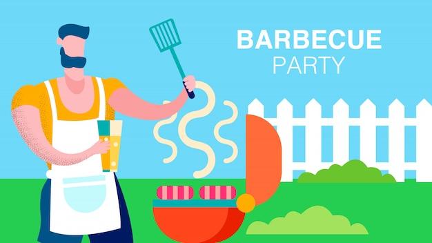 Ehemann, der barbecue-snack-vorlage vorbereitet