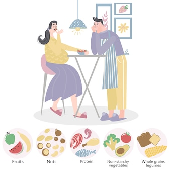Ehemann füttert schwangere frau. gesunde ernährung für schwangere frau.