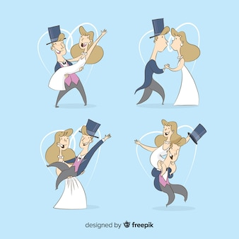 Ehemann und frau, die an ihrem großen tag glücklich sind