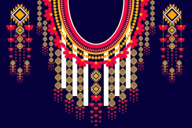 Ehenisches geometrisches und traditionelles muster des stammes-halskettenstickereidesigns für dekorationsmodefrauenkleidung. einwickeln von kleidung, glänzender traditioneller kunststil der bergvölker