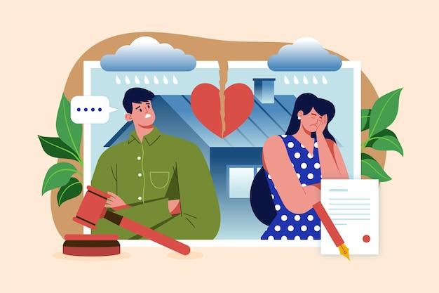 Ehepaar mit gebrochenem herzen lässt sich scheiden