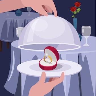 Ehering auf teller, restaurants dienen dem konzept des valentinsgrußes. flache vektorillustration