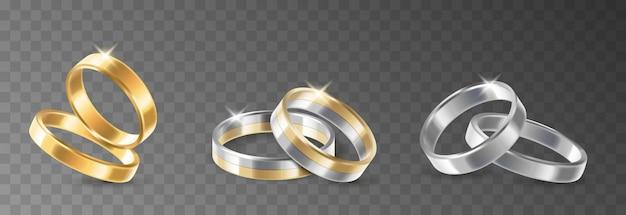 Ehering-set aus gold, platin und silber, trauungs- und jubiläumsschmuck. goldenes luxusgeschenk lokalisiert auf transparentem hintergrund. 3d realistische vektorillustration