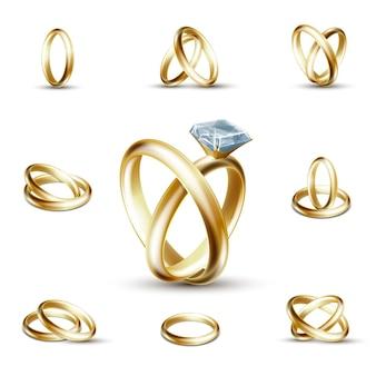 Eheringe und diamantring. goldener ring mit edelstein