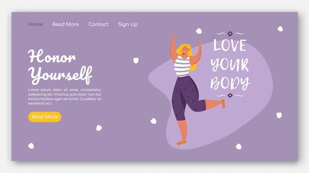 Ehre dich landingpage vektor vorlage. körperpositive website-schnittstellenidee mit flachen abbildungen. feminismus homepage layout.