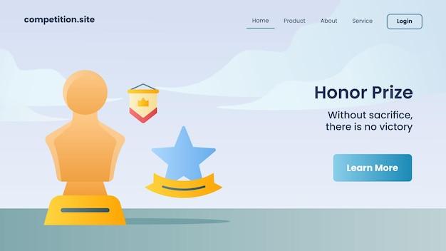 Ehrenpreis mit slogan ohne opfer gibt es keinen sieg für die website-vorlage, die homepage-vektorillustration landet