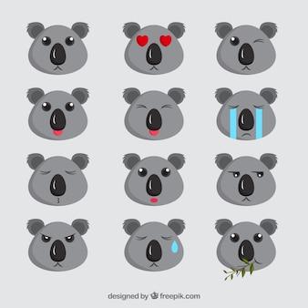 Ehrfürchtig emoji sammlung von niedlichen koalas