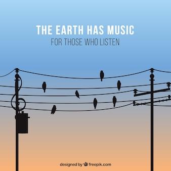 Ehrfürchtig musikalischen hintergrund mit vögeln