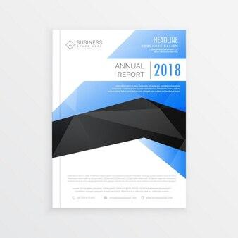 Ehrfürchtige business-broschüre vorlage mit blauen und schwarzen thema jahresbericht deckblatt design im a4-format