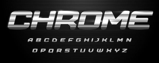 Ehrfürchtige chromalphabet-kursive fette rostfreie schriftartbuchstaben mit polierter metallstruktur für moderne