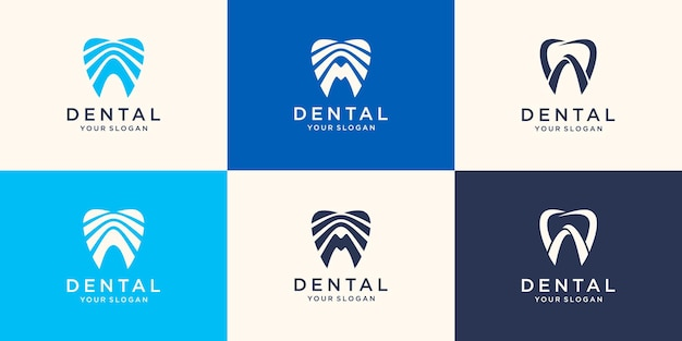 Ehrfürchtige zahnklinik-logo-vorlage. konzept des zahnarztlogos