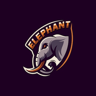 Ehrfürchtiger elefantlogo-designvektor