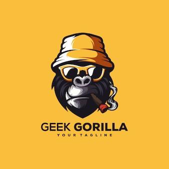 Ehrfürchtiger gorillalogo-designvektor