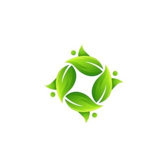 Ehrfürchtiger grüner blattlogovektor