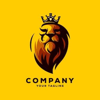 Ehrfürchtiger löwekönig-logovektor