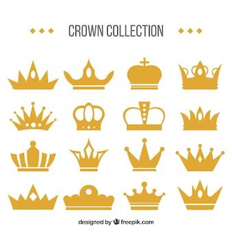 Ehrfürchtiger satz dekorative kronen