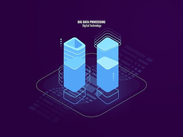 Ehrfürchtiges digitaltechnikzusammenfassungskonzept, serverraumfarm, blockchain sicherheitstechnologie