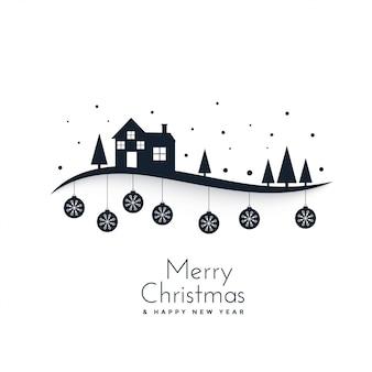 Ehrfürchtige Winterszene für Festival der frohen Weihnachten
