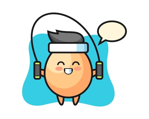 Ei charakter cartoon mit springseil, niedlichen stil für t-shirt, aufkleber, logo-element