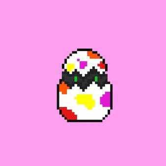 Ei-kreatur mit pixel-art-stil
