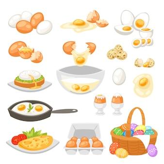 Ei-osternahrung und gesundes eiweiß oder eigelb im eierbecher oder kochendes omelett in der pfanne für frühstücksillustration